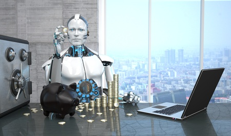 A robot with the Euro coins, piggy bank and safe on the table. 3d illustration. Stock Photo