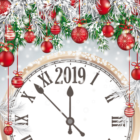 Christmas card with with snow, red baubles and Clock 2019. Eps 10 vector file.