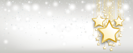 Christmas card with snowfall and golden stars on the bright background. Eps 10 vector file.