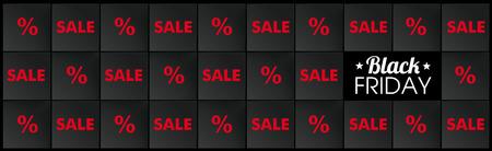 Black squares structure for the Black Friday Sale on the black background. Eps 10 vector file. Illustration