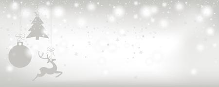 Kartka świąteczna z opadami śniegu i szarymi naklejkami na jasnym tle. Plik wektorowy EPS 10.