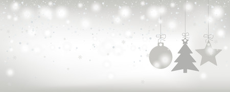 Christmas card with snowfall and gray stickers on the bright background. Eps 10 vector file.