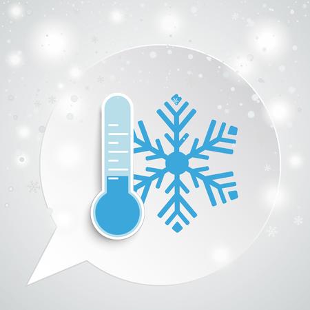 Runde Sprechblase mit Thermometer und Schneeflocke. EPS-10-Vektordatei. Vektorgrafik