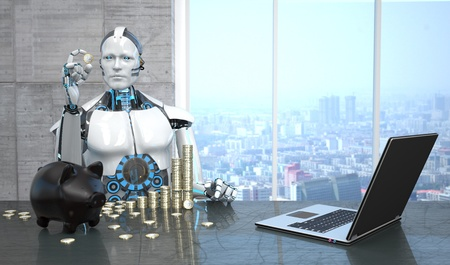 A humanoid robot with the Euro coins, notebook piggy bank on the table. 3d illustration.