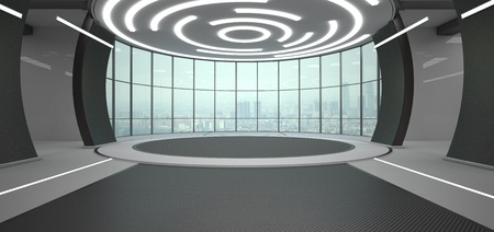 Futuristic room with a view of the city skyline. 3d illustration.