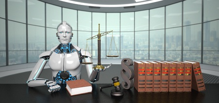 The humanoid robot sits as a lawyer in a futuristic room with law books, Gavel and a scale. 3d illustration.