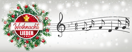 German Text Weihnachtslieder, translate Christmas Carols. Eps 10 vector file. Stock Illustratie