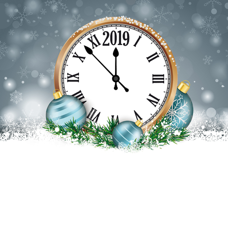 Christmas card with snowflakes, Clock 2019 and cyan baubles on the gray background. Eps 10 vector file. Illustration
