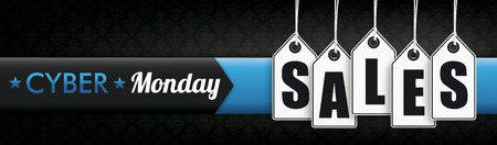 Banner with price stickers and the text Cyber Monday Sales. Eps 10 vector file. Illustration