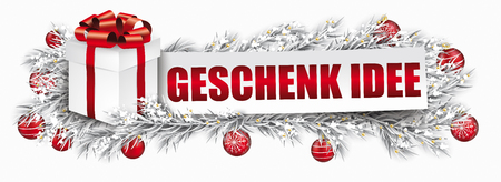 German text Geschenk-Idee, translate Gift Idea. Eps 10 vector file. Ilustracja