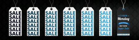 Banner with price stickers for the Cyber Monday Sale. Eps 10 vector file.