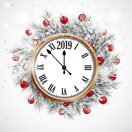Christmas card with snow, red baubles and copper clock with the date 2019. Eps 10 vector file. Stock Illustratie