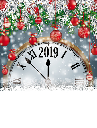 Christmas card with snowflakes, twigs, baubles clock and date 2019 on the gray background. Eps 10 vector file.