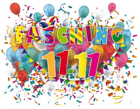 """Deutscher Text """"Fasching"""" übersetzt """"Karneval"""". EPS-10-Vektordatei. Vektorgrafik"""