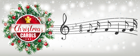 Banner with advent wreath and text Christmas Carols. Eps 10 vector file. Stock Illustratie