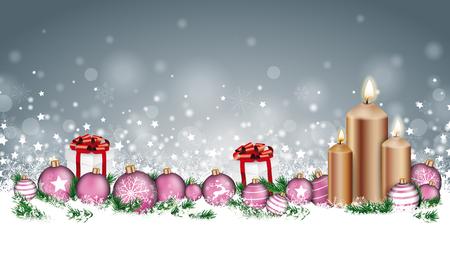 Cabecera de Navidad con velas, adornos, regalos y ramitas en la nieve sobre el fondo gris. Archivo de vector EPS 10. Ilustración de vector