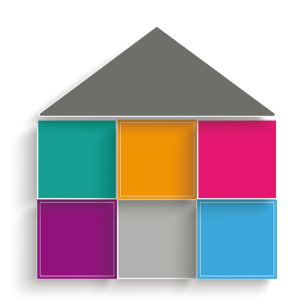 Infographic with house shape design on the gray background. Eps 10 vector file.