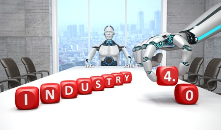White robot in a conference room with the Industry 4.0 cubes. 3D Illustration.