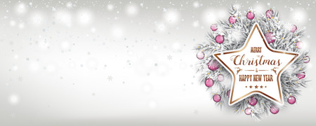 Christmas banner with frozen twigs and paper star with the text Merry Christmas and Happy New Year. Eps 10 vector file. Stock Illustratie