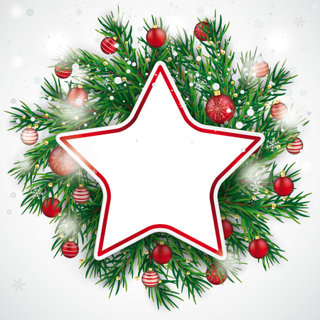 Christmas card with snow, red baubles and paper star. Eps 10 vector file.