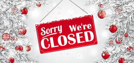Kersttakjes met het bordje en de tekst Sorry we zijn gesloten. EPS-10 vectorbestand. Vector Illustratie