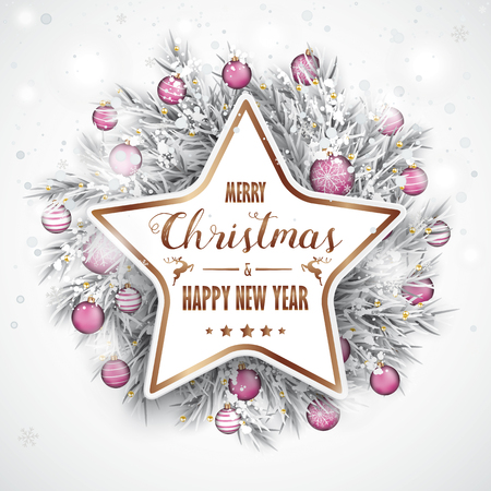 Christmas card with snow, pink baubles and copper star. Eps 10 vector file.