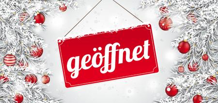 German text geoeffnet, translate open. Eps 10 vector file.