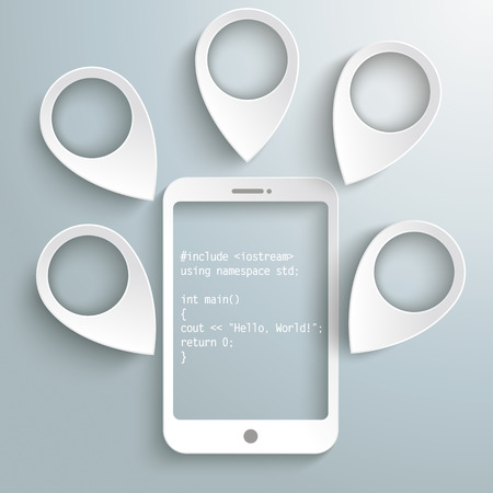 White pointers with smartphone with code on the gray background. Eps 10 vector file.