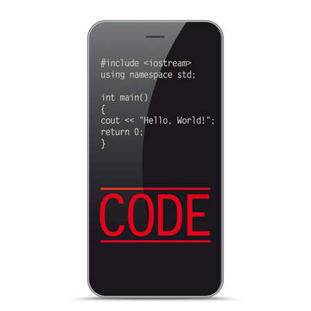 Smartphone with the code Hello World. Eps 10 vector file.
