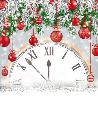 Christmas card with snowflakes, twigs, baubles and classic clock on the gray background. Eps 10 vector file.