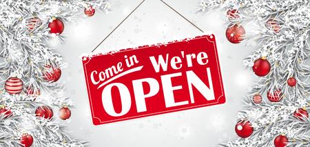 Kersttakjes met het bordje en de tekst Kom binnen, we zijn open. EPS-10 vectorbestand.