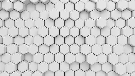 White hexagon structure background. 3d illustration.