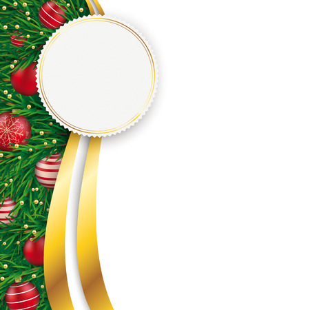 Christmas flyer with golden emblem on the white background. Eps 10 vector file. Stock Illustratie