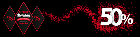 50 percent with red percents on the black background. Eps 10 vector file.