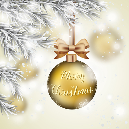 Golden Christmas bauble with golden ribbon loop hangs on a snowy Christmas tree. Eps 10 vector file.