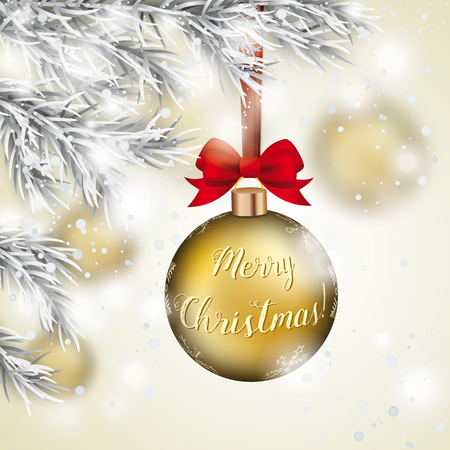 Golden Christmas bauble with golden ribbon loop hangs on a snowy Christmas tree. Stock Illustratie