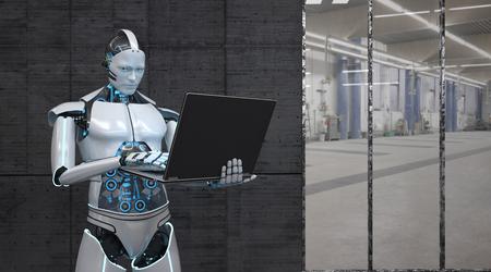 Un robot trabaja con un cuaderno. Ilustración 3D.