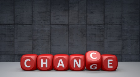 Red cubes with the words change to chance. 3d illustration. Stock Photo