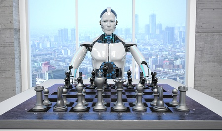 White humanoid robot with a chessboard on the table. 3d illustration. 스톡 콘텐츠