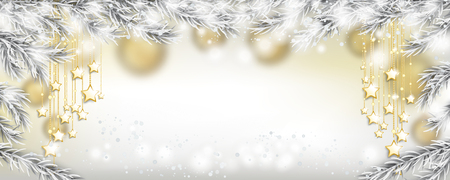 Golden Christmas stars, snow and frozen fir twigs. Eps 10 vector file.
