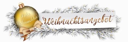 Deutscher Text Weihnachtsangebot, Weihnachtsangebot übersetzen. EPS-10-Vektordatei.