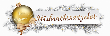 German text Weihnachtsangebot, translate christmas offer. Eps 10 vector file.
