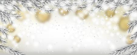 Golden Christmas balls, snow and frozen fir twigs. Eps 10 vector file.