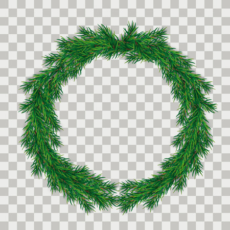 Grüne Weihnachtszweige mit auf dem karierten Hintergrund. EPS-10-Vektordatei.