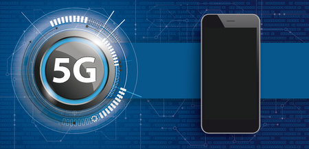 5G button with electronic schematicon and smartphone on the blue background. Eps 10 vector file.