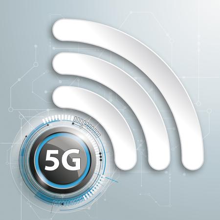 Diseño infográfico con símbolo de WiFi y texto 5G sobre fondo gris. Archivo de vector EPS 10. Ilustración de vector