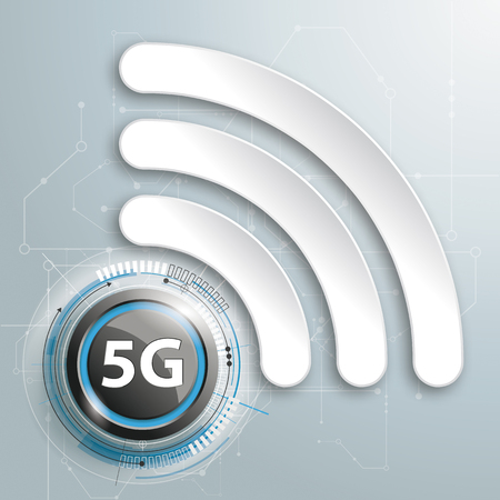Infographic design with WiFi-Symbol and text 5G on the gray background. Eps 10 vector file.