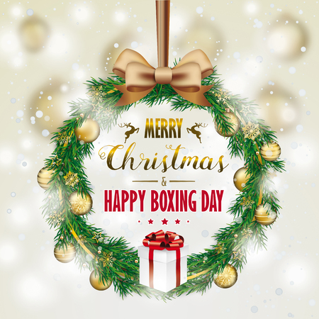 Advent wreath with gift and text Happy Boxing Day. Eps 10 vector file.