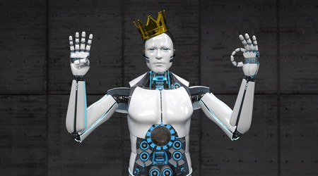 A white robot shows the numbers 4 and with his fingers.3d illustration.