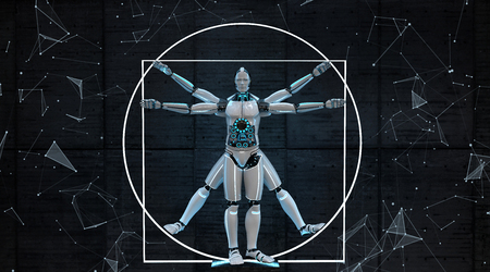 The proportions of the robots body. 3d illustration.